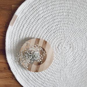 Solo-matto virkattu, valkoinen